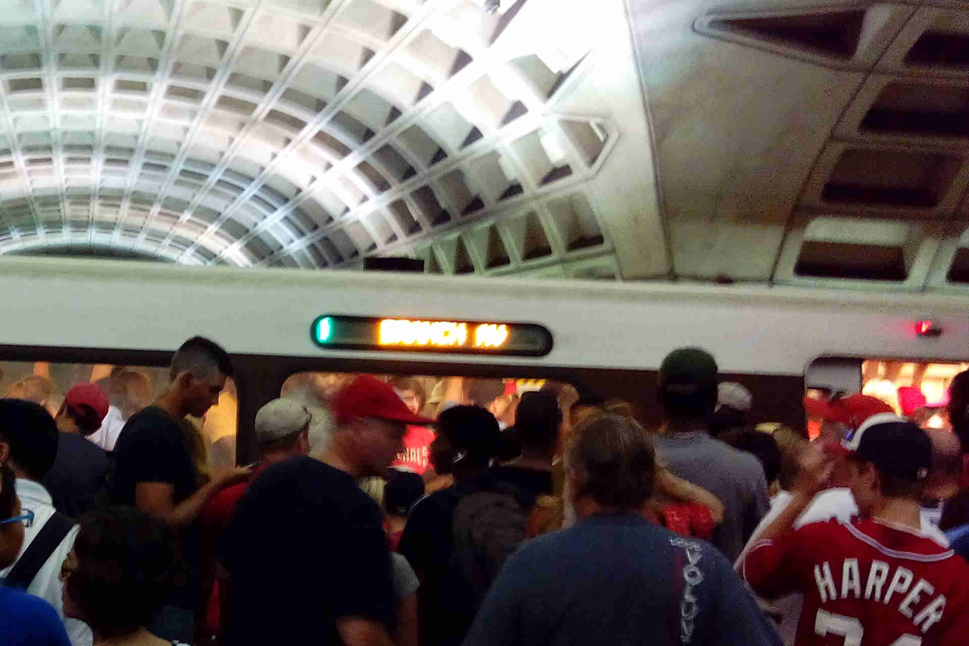 Crowded DC Metro Station